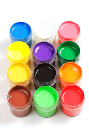 Various gouache paints in square formation photo