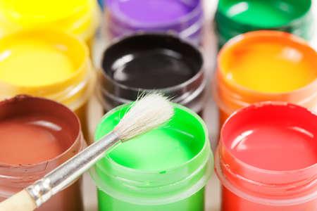 Paintbrush and gouache Stock Photo - 9284849