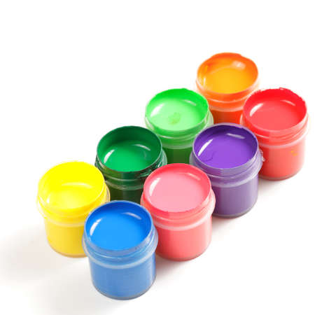 Two rows of guache paints over white background Stock Photo - 9284831