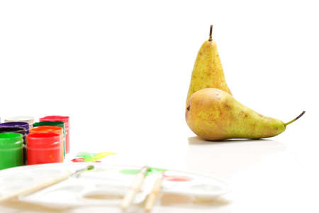 Two pears in painting still life set photo