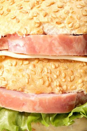 Ham sandwich with cheese closeup photo photo
