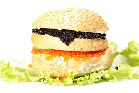 Red and black caviar burger against white photo