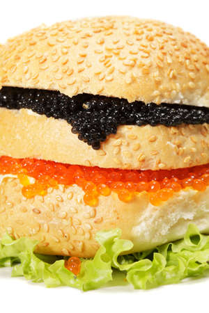 Red and black Caviar burger against white closeup photo Stock Photo - 11306784