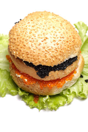Caviar sandwich over white above view photo