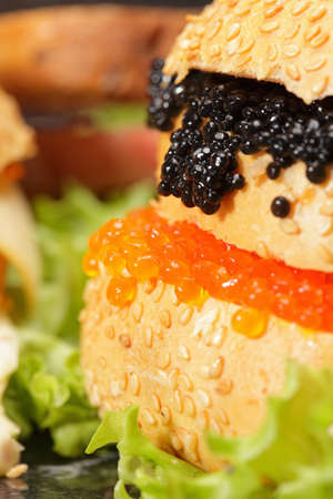 Caviar and other sandwiches closeup photo photo