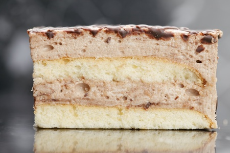bisquit: Bisquit cake with chocolate glazing sideview Stock Photo