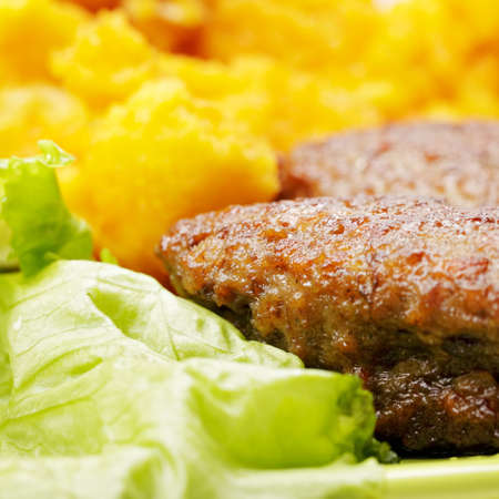 Cutlets with cauliflower and salad leaf closeup Stock Photo - 13052487