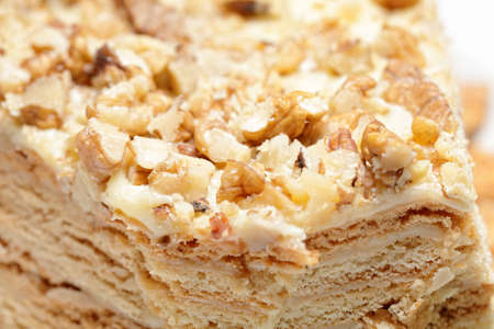 bisquit: Bisquit cake with walnuts closeup photo