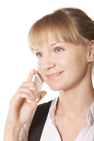 looking sideways: Confident woman on phone looking sideways closeup