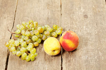 Fruits on old wooden table view from above Stock Photo - 14960242