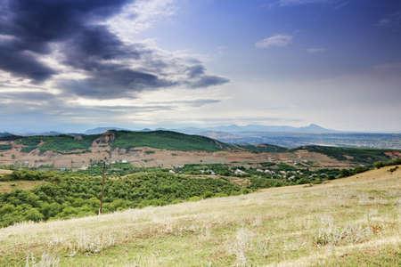 Ispik village in Caucasus mountains against view of Kasumkent village Stock Photo - 15560710