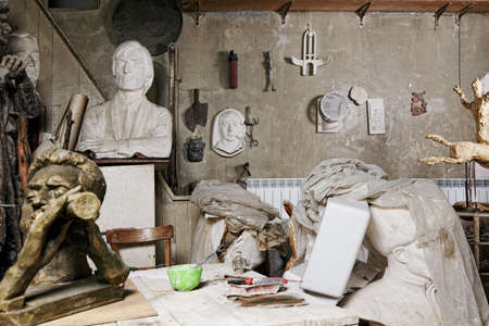Various sculptures and reliefs in workshop interior Stock Photo - 16469303