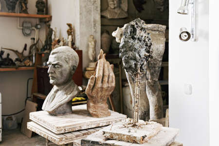 Various sculptures and statues in studio interior Stock Photo - 16469296