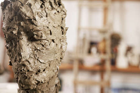 Just made sculpture of man head in workshop Stock Photo - 16469298