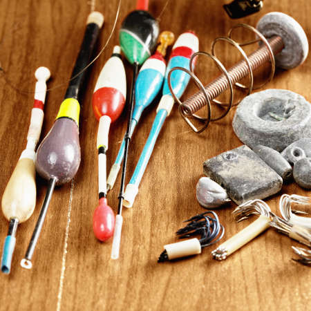 sinkers: Floats and sinkers on a wooden surface