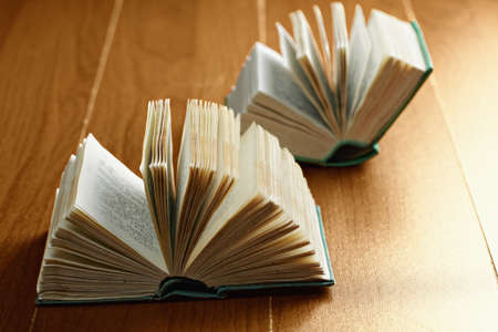 two page spread: Two open books on a wooden surface closeup photo