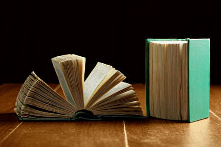 two page spread: Open and closed old books against dark background