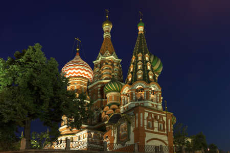 cupolas: Saint Basils Cathedral in the night rear view Stock Photo
