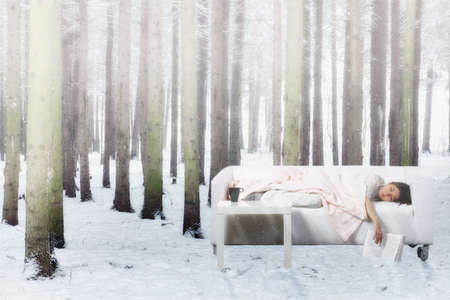 Young woman having nap on sofa in winter forest photo