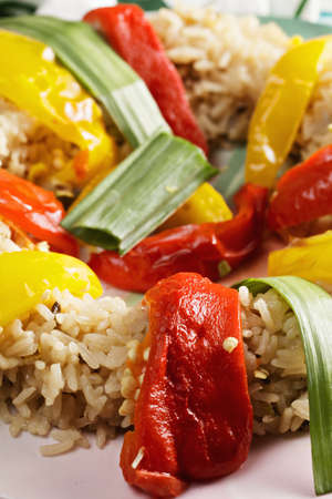 ovenbaked: Oven-baked pepper in risotto closeup