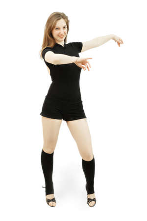 pleasant emotions: Young caucasian woman dancing against white