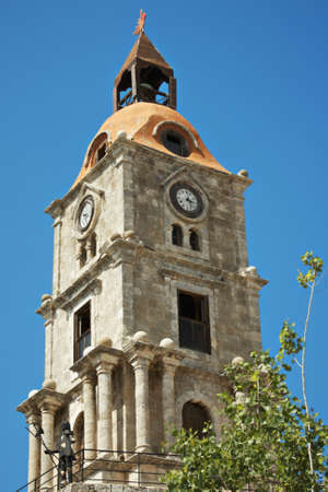 clocktower: Roloi clocktower with knight in the Rodos, Greece closeup photo