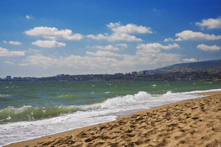 dagestan: Closeup Makhachkala view from the beach in a summer day Stock Photo