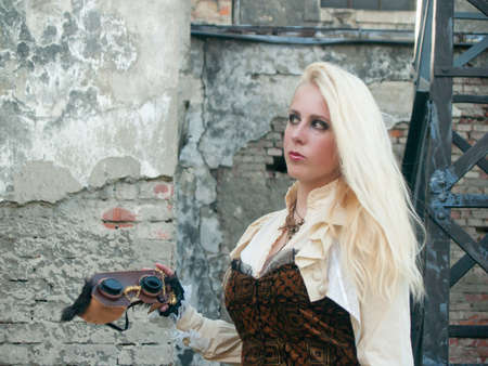 Steampunk blond girl