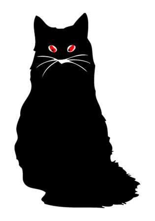Evil dark cat with red eyes Vector