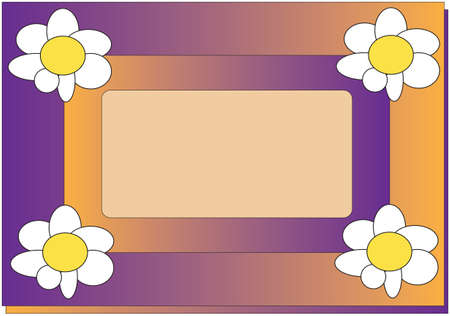 floral frame, violet and yellow, place for text