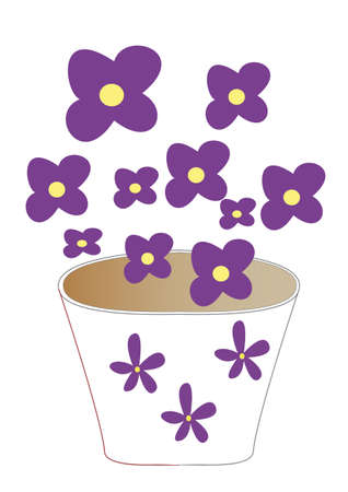pot with violet flowers