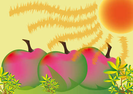 Abstract fruits, plums or apples in grass Illustration