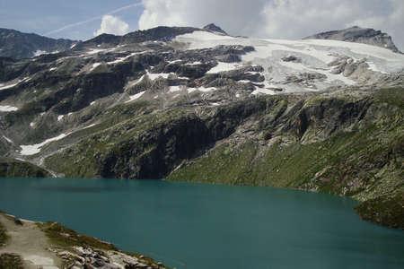 austrian mountains, mountain lake and glacier