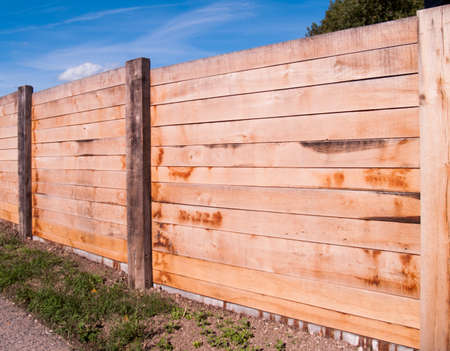 new built massive wooden fence