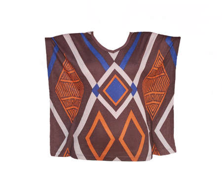 Color-blocked womens blouse with geometric pattern. Short sleeve. Isolated on white
