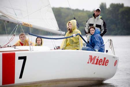 dniper: Kyiv, Ukraine - August 12,2016:Sailing school in Kiyv, Ukraine - August 2016 - Young people learning to sail in the harbor at Dniper river Ukraine before International Regatta Hetman Cup (ISAF Grade 2) run in Ukraine