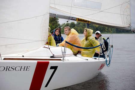 Kyiv, Ukraine - August 12,2016:Sailing school in Kiyv, Ukraine - August 2016 - Young people learning to sail in the harbor at Dniper river Ukraine before International Regatta Hetman Cup (ISAF Grade 2) run in Ukraine