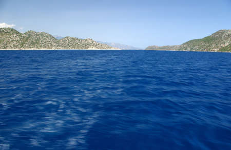 A quiet bay on the background of mountains and sea.View of the Mediterranean Sea and the mountains, Turkey