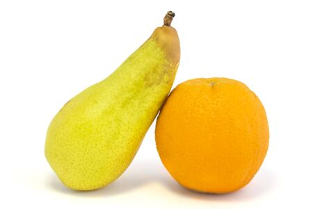 contain: Image contain orange and pear isolated on white background