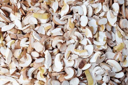 rustic food: Fresh sliced porcini mushrooms texture. Food background. Rustic style.