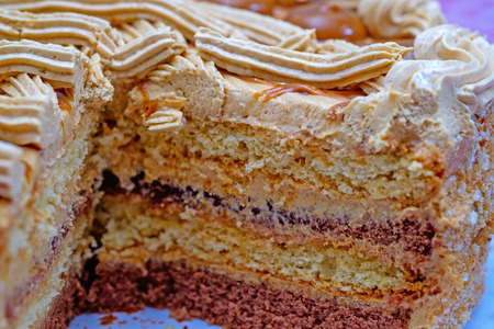 layer cake: Dessert - chocolate layer cake. Close up. Selective focus Stock Photo