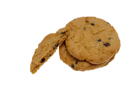 morsels: Chocolate chip cookies isolated on white background
