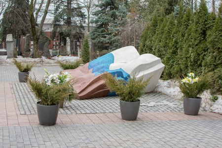 Moscow, Russia. 3 March 2017: Novodevichy Cemetery. Grave of first President of the Russian Federation Boris Yeltsin