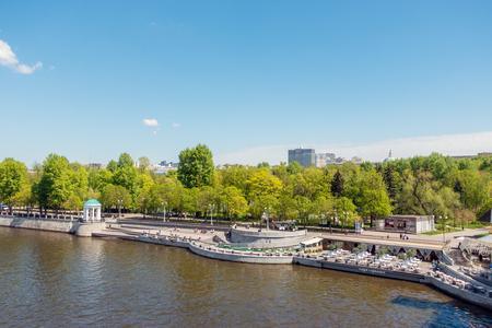 View of Neskuchny Garden from Novoandreevsky Bridge, Moscow Russia Stock Photo