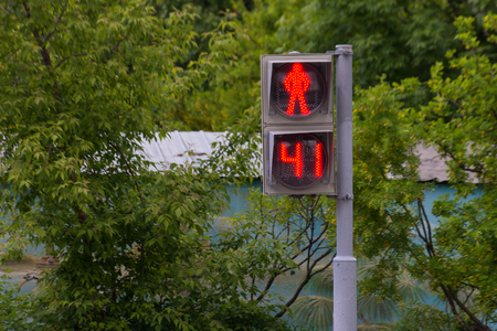 dont walk: Pedestrian light traffic sign that shows red dont walk symbol and timer