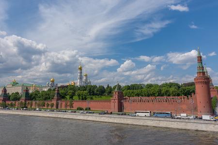spasskaya: RUSSIA, MOSCOW, JUNE 8, 2017:  View of embankments, Kremlin Towers in Moscow.