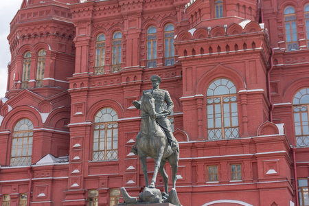 RUSSIA, MOSCOW, JUNE 8, 2017:  Marshal Zhukov monument. A monument to the marshal of the Soviet Union Georgy Zhukov in front of the History Museum near the Red Square.