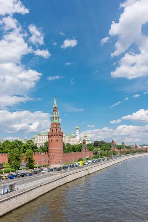 spasskaya: RUSSIA, MOSCOW, JUNE 8, 2017:  View of embankments, Kremlin Towers in Moscow. Vertical image