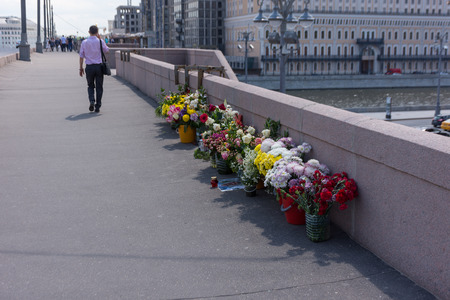 boris: RUSSIA, MOSCOW, JUNE 8, 2017: Memorial to Boris Nemtsov on Bolshoy Moskvoretsky Bridge. Politician was assassinated here on February 27, 2015