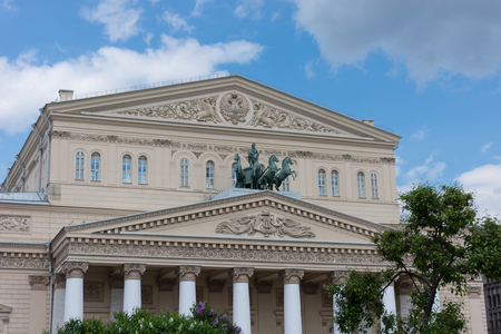 quadriga: RUSSIA, MOSCOW, JUNE 8, 2017: The Bolshoi Theatre. The Bolshoi Theatre was founded almost 250 years ago and was biggest opera house in Europe at that times
